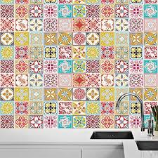 walplus selbstklebend wandbild kunst aufkleber home dekoration wohnzimmer schlafzimmer küche tapete marokkanische rot malia bunte fliesen