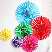 Daily Mall 12Pcs Art Craft DIY Tissue Paper Fan Hanging Party Wedding Decorations Birthday Kids