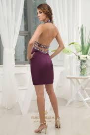 empire waist short prom dresses eggplant purple dresses pleated