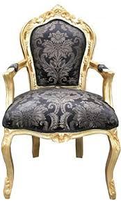 casa padrino barock esszimmer stuhl schwarz muster gold mit armlehnen möbel