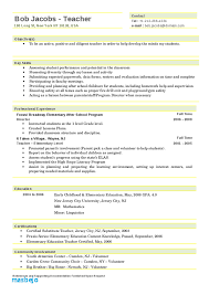 Elementary Teacher Resume Examples Early Childhood Resumes Good Template