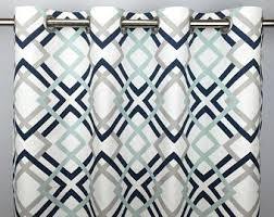 Navy Geometric Pattern Curtains by Geometric Curtains Etsy