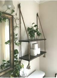 holz und seil hängen regale in expresso stain badezimmer