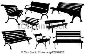 Set of benches isolated on white vector Search Clip Art