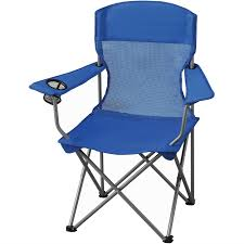 Folding Camping Lightweight Chair W/ Cup Holder & Carrying Bag Set Of 2 Blue
