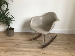 100 Eames Style Rocking Chair Style Rocking Chair Nearly New Taupe Colour With Walnut