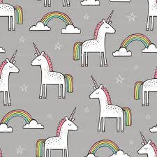 Cute Unicorn Rainbow In Grey
