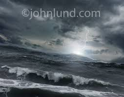 Rough Seas And Lightning In A Storm At Sea