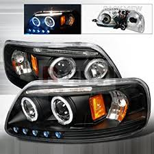 97 03 ford f150 led halo projector headlights black