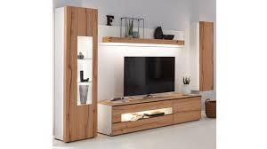 interliving wohnzimmer serie 2103 wohnwand 560002f mit beleuchtung mattweißer lack asteiche vierteilig breite ca 3
