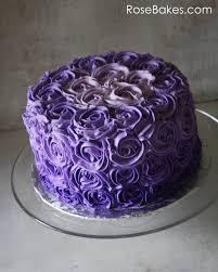 Purple Ombre Buttercream Roses Birthday Cake