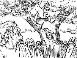 Zacchaeus Jesus Tree Coloring Page