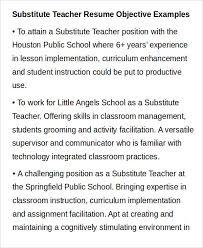 Substitute Teacher Resume Objective
