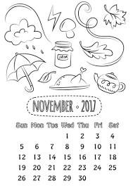 Click To See Printable Version Of November 2017 Calendar Coloring Page