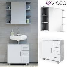 vicco badmöbel set ilias weiß beton bad spiegel kommode unterschrank badschrank