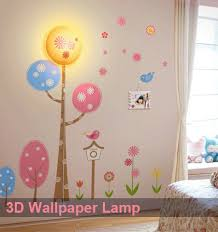 DIY Wall Lamp 3D Wallpaper Light With Decals Lampshade Night Lamps For Home