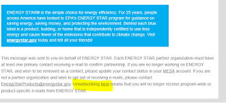 To Unsubscribe From ENERGY STAR Emails Click Here At The Bottom Of Any Email We Are Transitioning A New System If This Doesnt