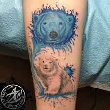 Mother Blue Color Polar Bear Head With Baby Tattoo