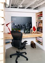 Small Basement Home Office With A Jaw Dropping Built In Desk And Smart Wall Shelves