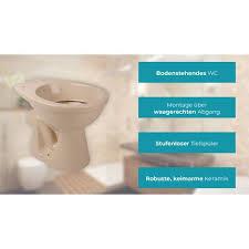 calmwaters stand wc mit waagerechtem abgang im komplettset mit spülkasten und wc sitz in bahamabeige beige 99000181