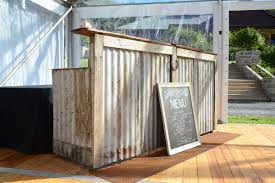 Wooden Patio Bar Ideas by Rustic Bush Bar Made From Corrugated Iron Recycled Timbers And