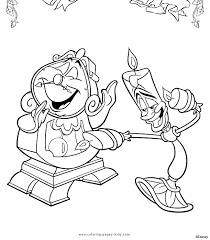 Cogsworth And Lumiere Beauty The Beast Color Page Disney Coloring Pages