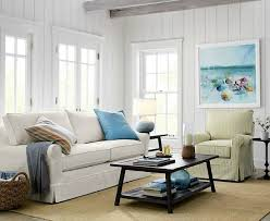 White Slipcovered Sofa For Beach Cottage Style Living