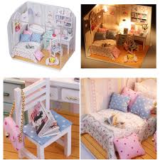 DIY Wood Dollhouse Miniature With LED Furniture Cover Doll House