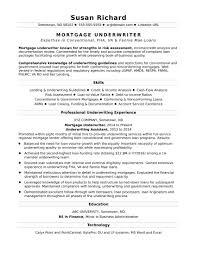 Mortgage Underwriter Resume Sample Social Media Bullet Points Examples