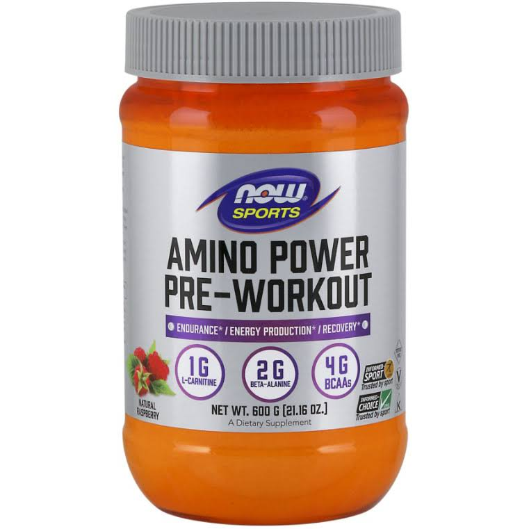 Now Sports Amino Power Pre-workout Supplement - Natural Raspberry Flavor, 600g