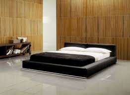 Minimalist Master Bedroom Ideas With Wrapped In Black Leather Bed