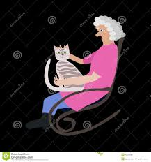 Grandmother In A Rocking Chair With A Cat Stock Illustration ...