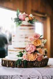 Almost Naked Cake Peach Orange Floral Altar Ego Weddings