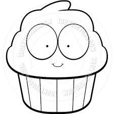 Cartoon Cupcake Black and White Line Art