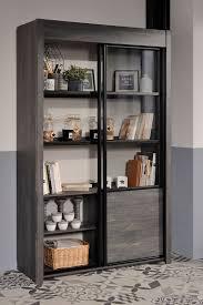 vitrine maxim 9 eiche grau 128x203x45 cm schrank esszimmerschrank