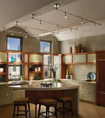 kitchen track lighting hardwood flooring wooden barstools
