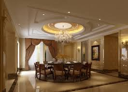Plaster Ceiling And Marble Flooring For Dining Room
