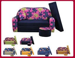 canapé enfant 2 places sofa enfant 2 places convertibles motif imprimé puzzle bleu nuit w281