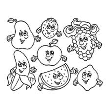 Fruits With Different Faces Coloring Pages