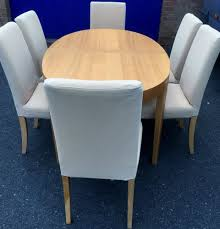 Dining Room Chairs Ikea by Extending Oval Dining Table And 6 Chairs Ikea Table Cream Light