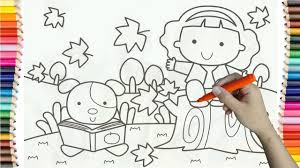 Learning How To Draw Baby Girl And Dog Colorful For Kids