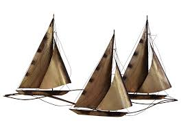 Sailboat Wall Decor Metal by Curtis Jere Sailboat Wall Hanging Sculpture Chairish