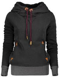 hoodies black l stylish hooded long sleeve spliced women u0027s