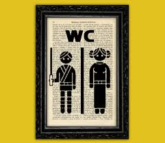 Star Wars Room Decor Uk by Star Wars Toilet Sign Art Print Wc Luke Leia Poster Book Art