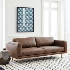 Dempsey Leather Sofa 213 Cm Chocolate West Elm UK