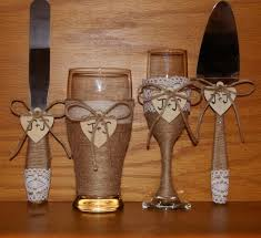 Rustic Wedding Champagne Flute And Beer Glass With Cake Serving Set Country Toasting Glasses Cutting