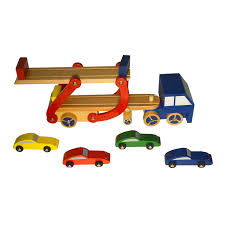 100 Toy Car Carrier Truck Wooden Pretend Play Set Rier And Trailer With 4