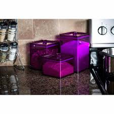 Purple Glass Kitchen Canister Sets Plus Countertop And Tile Backplash For Decoration Ideas