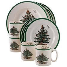 Spode Christmas Tree Mug Cafe Shape by Amazon Com Gibson Home Tree Trimming 20 Piece Ceramic Dinnerware