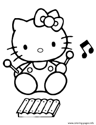 Hello Kitty Playing Xylophone Coloring Pages